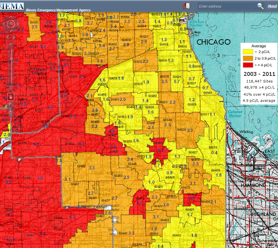 Radon Testing Chicago map of Illinois